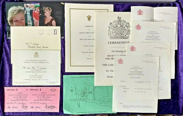 A personal wedding invitation set toCharles and Diana's 1981 wedding is on sale for £1,999.95