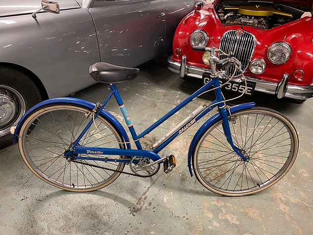 A blue Raleigh Traveller bicycle, later dubbed 'the Shame Bike' ridden by newly-engaged Diana is on sale fro £20,000