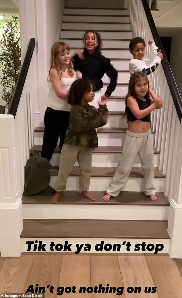 'TikTok ya don't stop': On Sunday, Kourtney Kardashian's ex-husband Scott Disick shared footage to TikTok of his daughter Penelope performing the Ka Mate haka alongside Kim Kardashian's children Saint and North, and two other youngsters