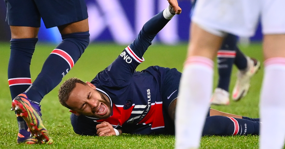Neymar in tears after being taken off on stretcher with suspected broken ankle