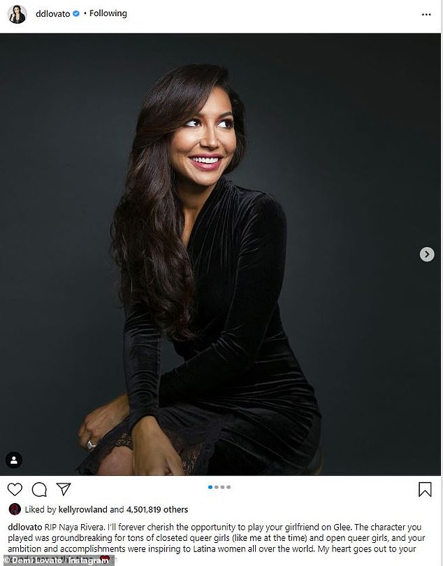 Honored: The Don't Forget singer said she would 'forever cherish' her opportunity to play Rivera's girlfriend in her moving tribute to the actress-singer