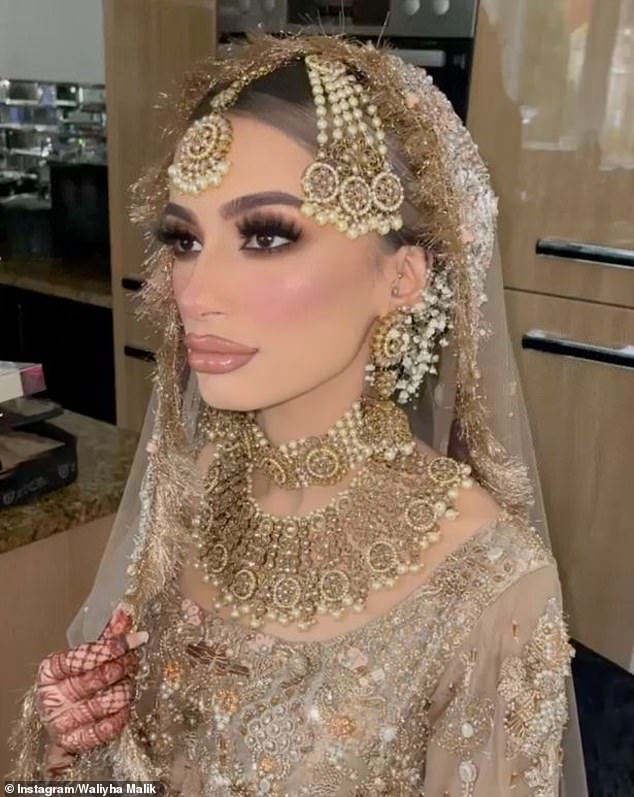 Just married: Waliyha, 22,was all smiles on her special day as she stunned in glamorous golden wedding attire, which featureda gorgeous dress embellished with sequins