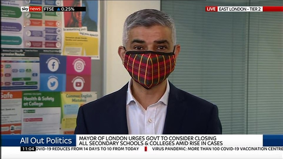 Mayor Sadiq Khan said today that Tier 3 would be 'catastrophic' without extra help for the city's businesses, coming in what should be a 'golden quarter' of the year before Christmas