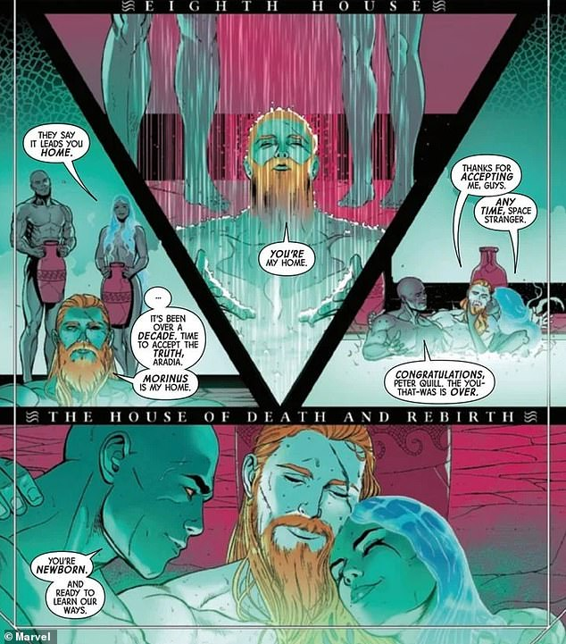 Threesome:However 12 years later it seems as if Star-Lord was officially part of the polyamorous love-triangle as he is shown enjoying an intimate ceremonial bath with Aradia and Mors