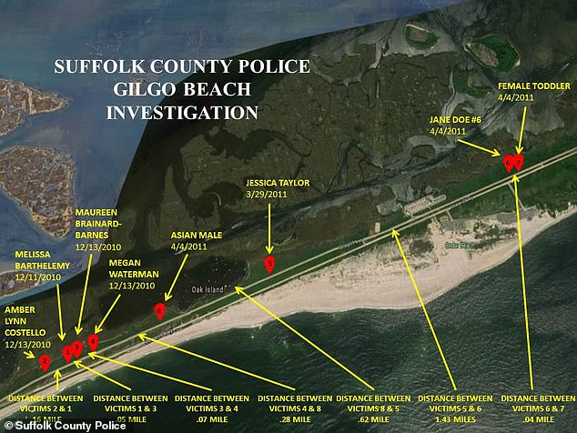 This map shows the locations where some of the victims were found, and the distance between the crime scenes