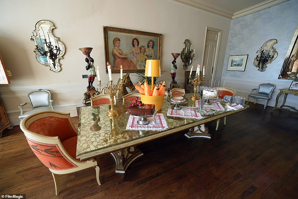 Gabor's home, as it was decorated for her 98th birthday party in 2015. Gabor bought the home for $245,000 in 1973