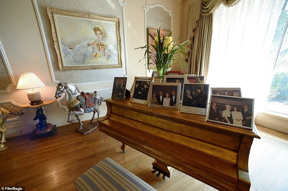 Gabor had a golden piano in the house (pictured), which is seen in 2015 during her 98th birthday press conference