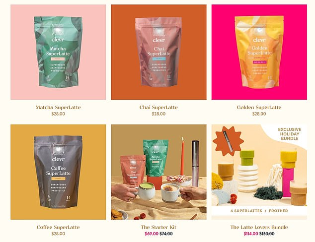 Some of the goods sold on Clevr Blends' website include a 'golden' turmeric 'superlatte' and 'macha superlatte'