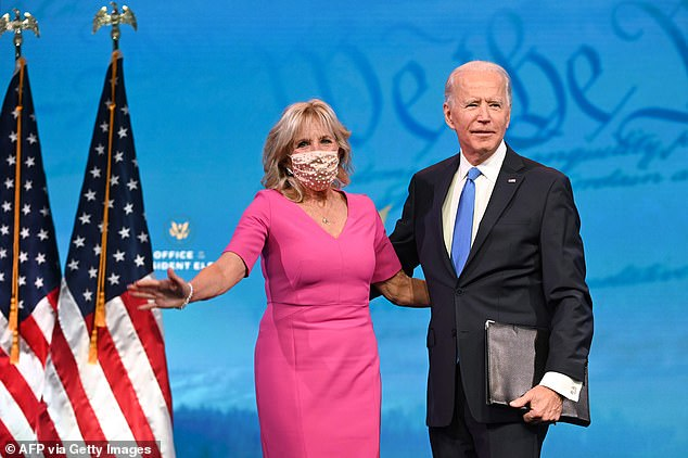Biden with his wife Dr. Jill Biden before delivering his remarks at the Queen Theatre in Wilmington, Delaware