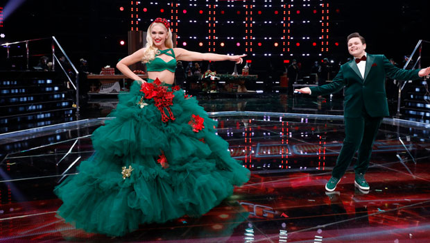 Gwen Stefani Slays In Holiday Green Crop Top & Massive Skirt During 'The Voice' Finale – Pics