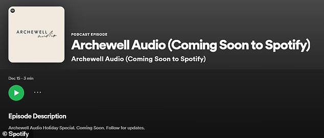 The Duke and Duchess of Sussex announced they will produce and host their own shows as part of the newly formed Archewell Audio(pictured) - starting with a 'holiday special' that 'uplifts audiences around the world'