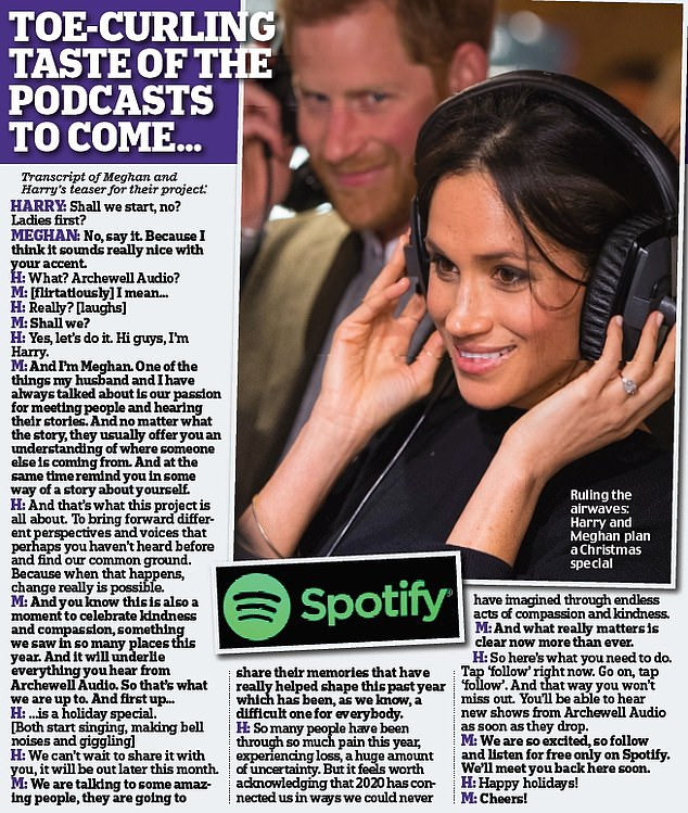 Meghan and Harry released a trailer of their new podcast last night. Pictured, a transcript of Meghan and Harry's teaser for their project