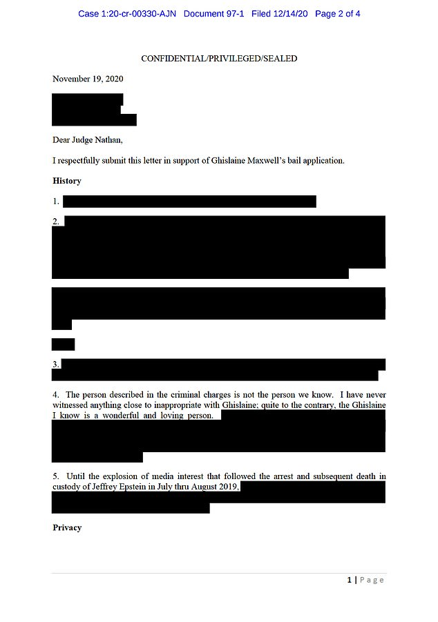 A redacted version of Borgerson's letter is shown above