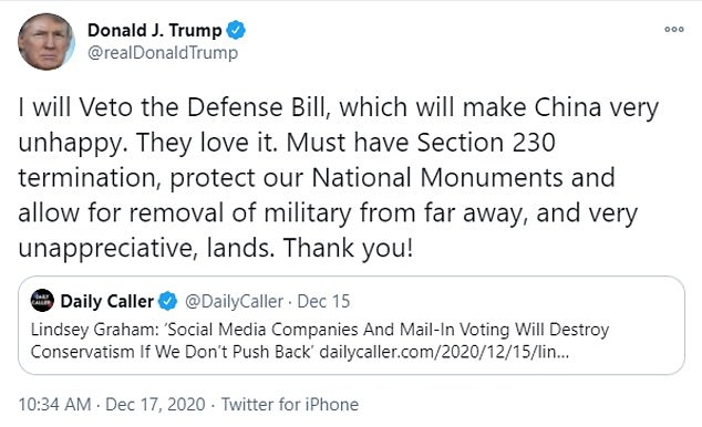 President Donald Trump repeated his veto threat in a tweet Thursday morning, he has several objections to theNational Defense Authorization Act, but it passed both the House and Senate with veto-proof majorities