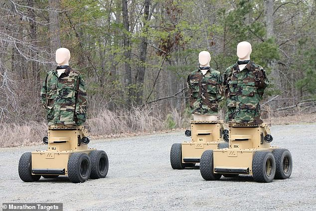 The machines are fitted with mannequin-like bodies that site on heavy duty Segways and feature similar technologies used in self-driving cars