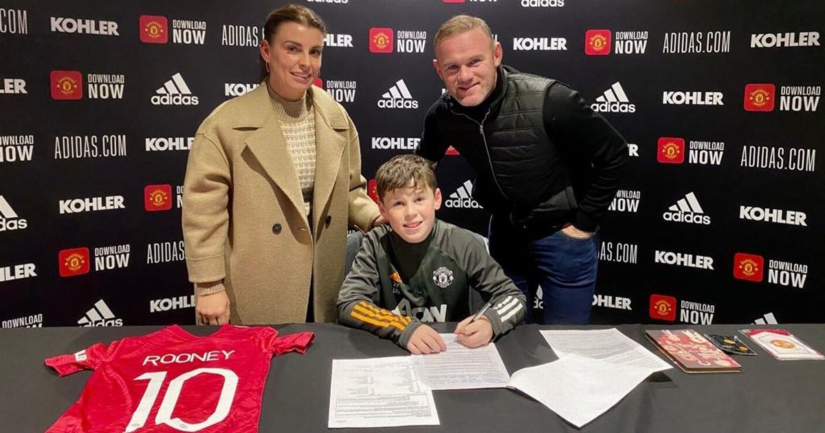 Wayne Rooney's son Kai signs for Man Utd as he pens deal with dad and mum Coleen