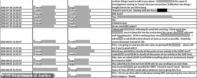 A Strzok text message to Page on July 28, 2017, the same day the Australian tip was received, says he wants to discuss '[o]ur open C[ounter-]I[ntelligence] investigations relating to Trump's Russian connections'