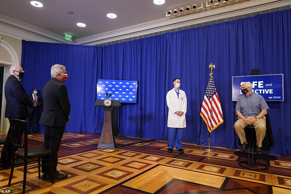 Get ready: Drs. Tony Fauci and Robert Redfield were present in the Eisenhower Executive Office Building, part of the White House complex, as Mike Pence got his shot