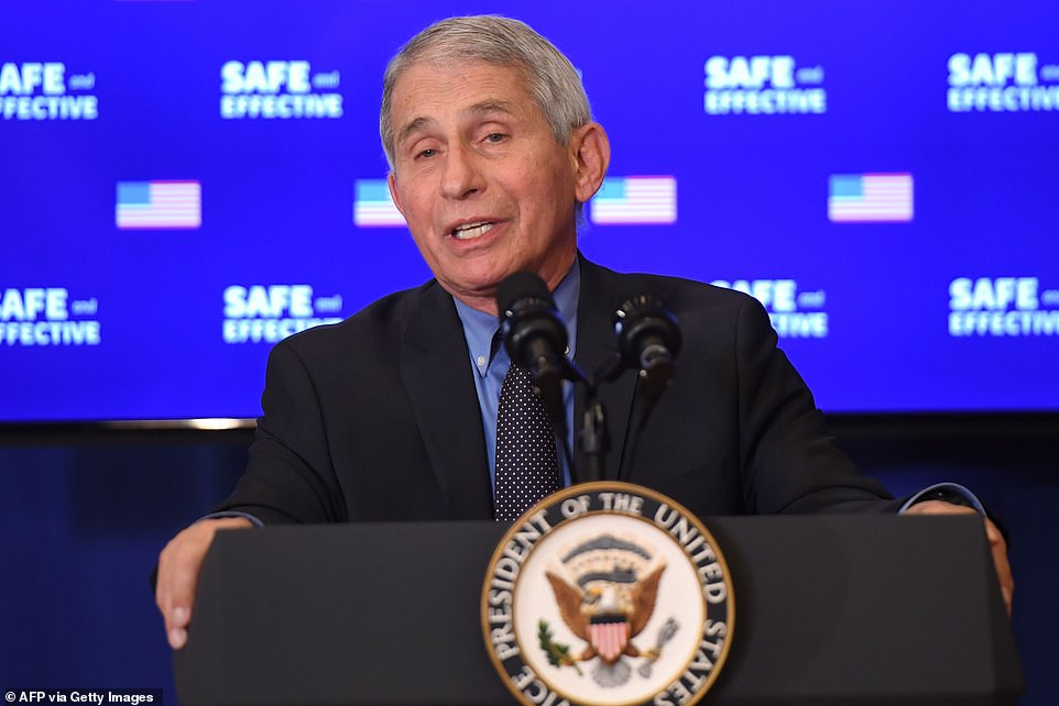 Dr. Anthony Fauci spoke at the Friday morning event at the Eisenhower Executive Office Building