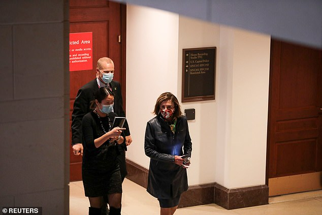 Pelosi rushed out of the closed-door FBI briefing on Friday without speaking to reporters