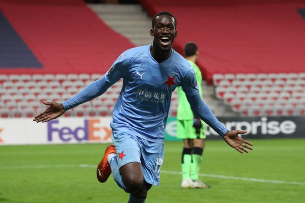 Abdallah Sima, 19, has scored nine goals in his last 12 games for Slavia Prague