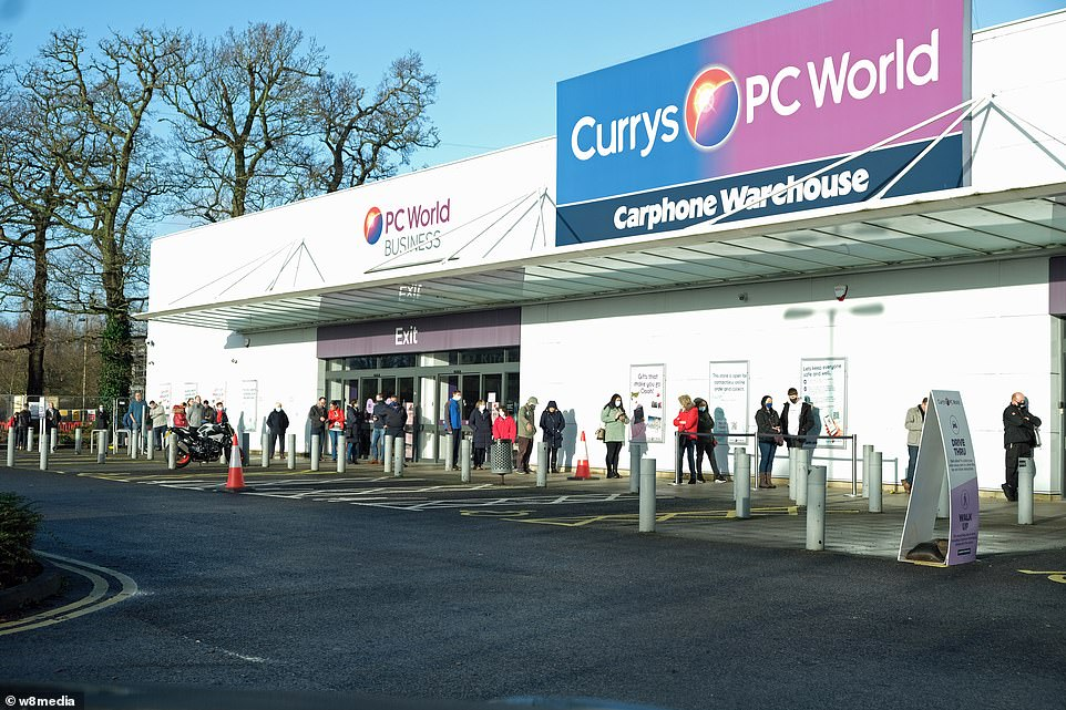 In Southampton, tech-savvy buyers queued outside Currys PC World. Mask-wearing shoppers were seen in a queue which snaked outside the store