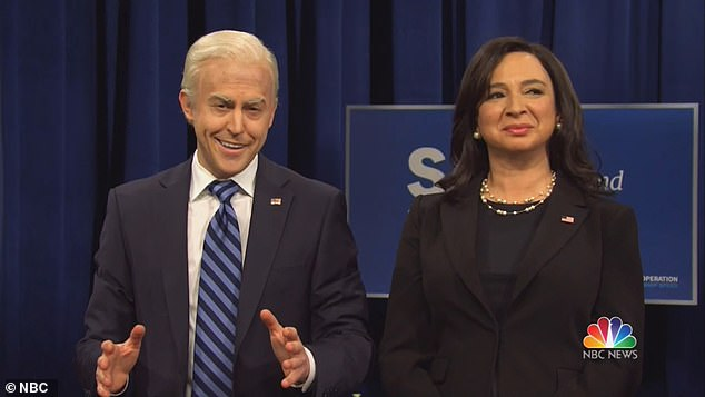 The latest episode featured SNL cast member Alex Moffat (left) debuting his imitation of President-elect Joe Biden. He appeared alongside Maya Rudolph, who once again portrayed Vice President-elect Kamala Harris