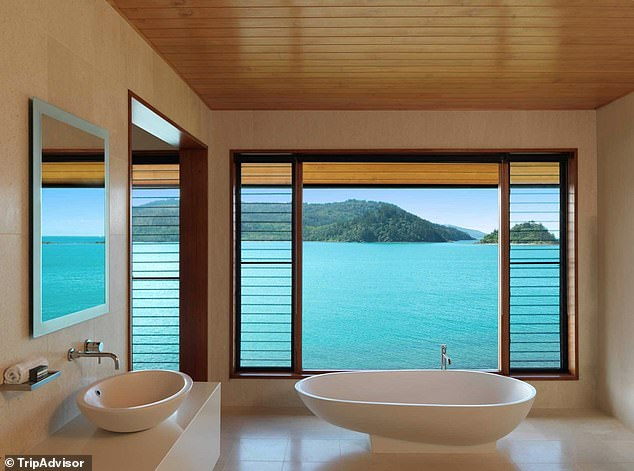 Modern design:The beach house features a main bedroom with an ensuite bathroom (pictured), as well as a separate guesthouse for friends