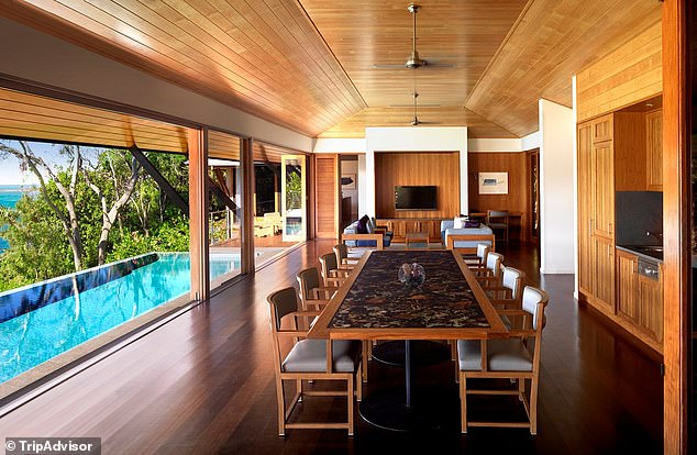 Spacious: Sources say Zac, 33, will be staying at Qualia, a luxurious resort surrounded by the Great Barrier Reef.The resort offers panoramic views of the Coral Sea and Whitsundays, and its beach house suite (pictured) - where Zac is rumoured to be staying - costs $7,190 a night