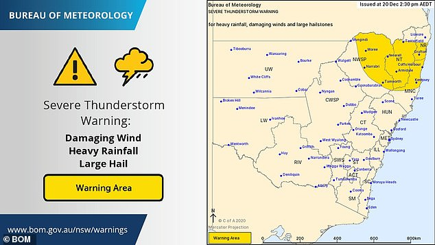 Large hail was forecast for northeastern NSW on Sunday. The western areas around Tamworth, Narrabri and Moree got a reprieve with the thunderstorm threat centred on Lismore, Grafton