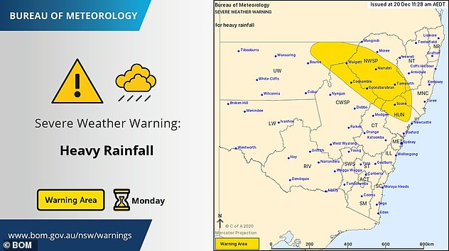 Flooding is expected for Monday in northern NSW with normally dry areas such as opal-mining capital Lightning Ridge expected to suffer severe downfalls
