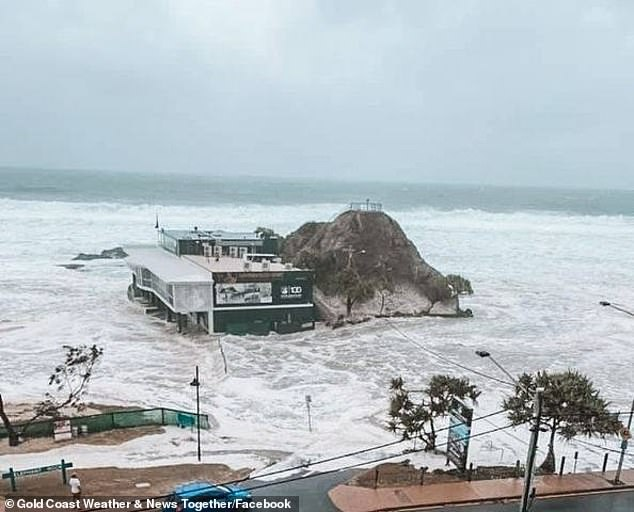 A life-saving club at Currumbin swallowed by the sea last Monday as southeast Queensland and northern NSW were battered by a huge storm. Northern NSW is set to be hit again