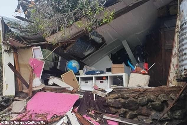 A family home on a farm at Tintenbar near Ballina on the NSW north coast was destroyed by a falling fig tree during the wild storms last weekend. More bad weather is on the way