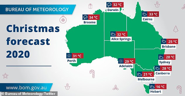 The weather bureau has released its forecast for December 25, revealing a mixed bag of thunderstorms, flash flooding and blue skies