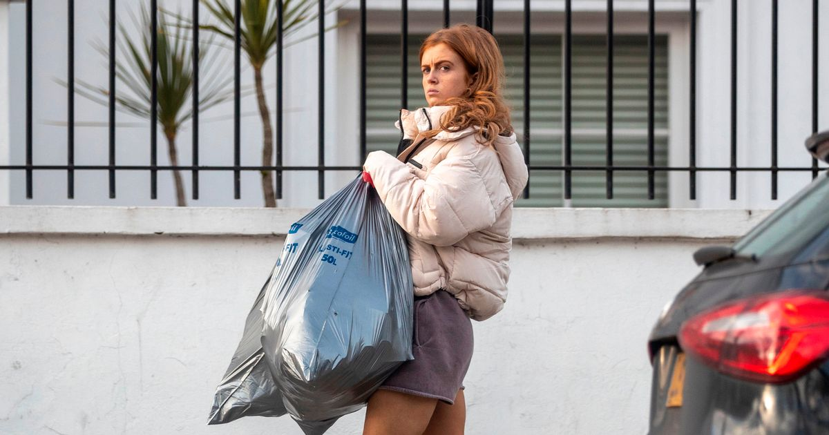 Strictly's Maisie Smith looks partied-out as she puts the bins out after final