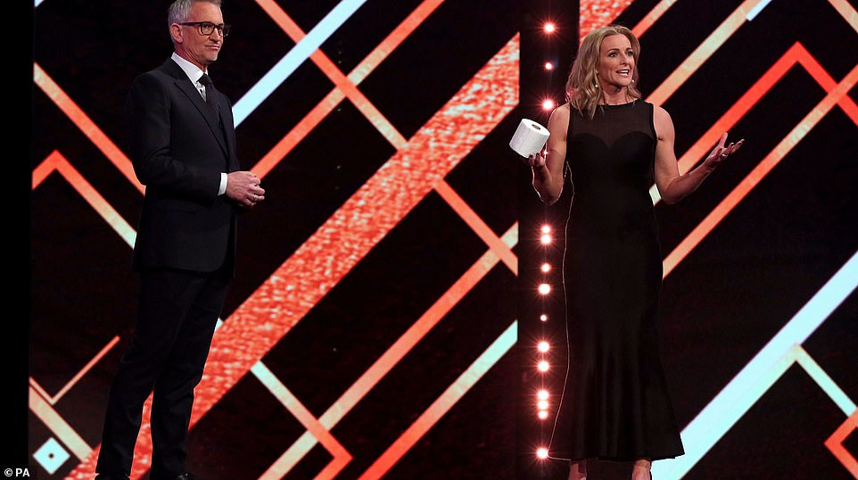 There was an awkward start to proceedings as Gary Lineker (left) and Gabby Logan were forced to explain why Tyson Fury was not appearing for an interview, saying he 'decided not to engage' with producers