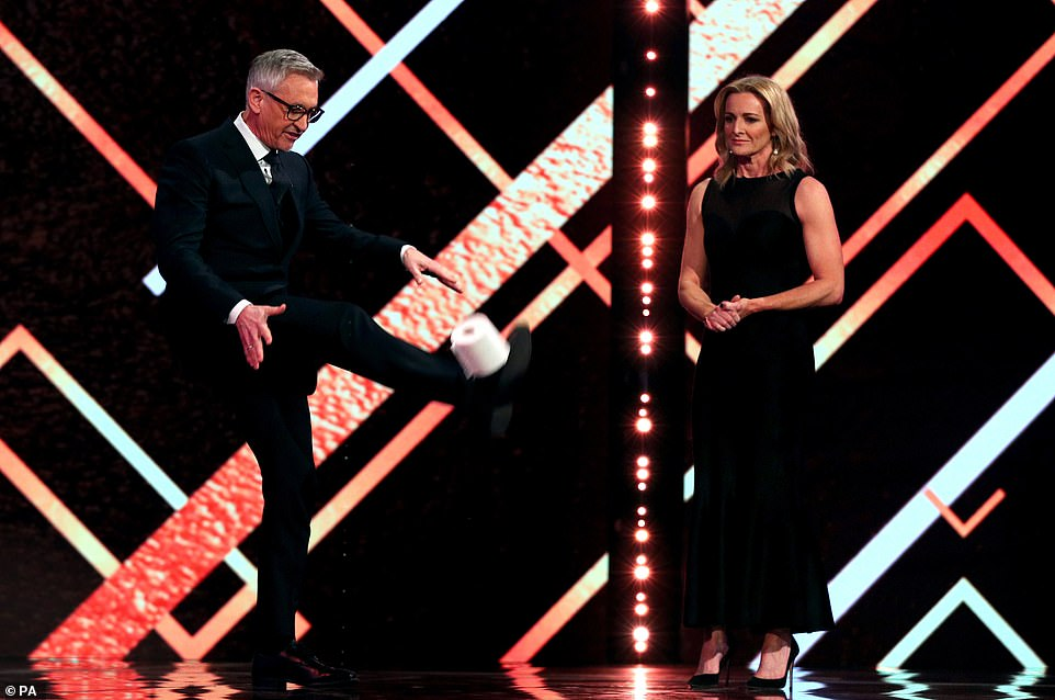 There was time for a couple of jokes as the ceremony got underway, as former England striker Gary Lineker made a poor attempt at juggling a toilet roll with his feet