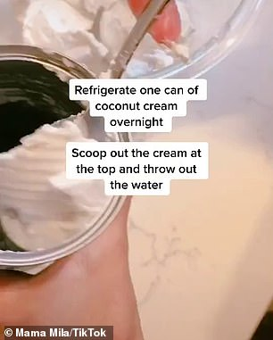 The woman, who goes by the name Mama Mila on TikTok shared her 'life hack' for a quick and easy dessert that takes just 30 seconds to prepare (the process pictured)