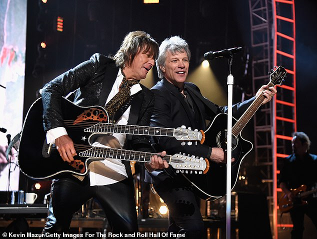 One night only: The New Jersey-born, Calabasas-based musician and Bon Jovi reunited five years after he quit to perform at their Rock and Roll Hall of Fame Induction