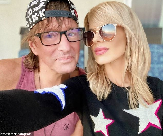 Ladylove: Since 2014, Richie has been in an on/off relationship with Australian guitarist Orianthi Panagaris (R), who is 26 years younger than him (pictured December 5)