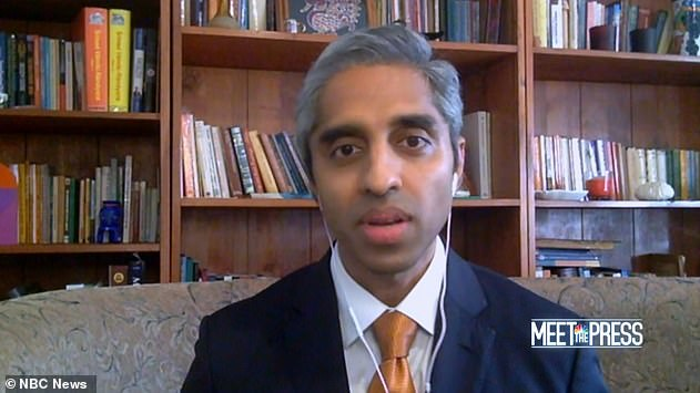 In an interview on NBC on Sunday, Joe Biden's surgeon general nominee Dr Vivek Murthy said the majority of Americans may not be able to get a vaccine until midsummer or early fall. Pictured: Murthy on NBC's Meet the Press on Sunday
