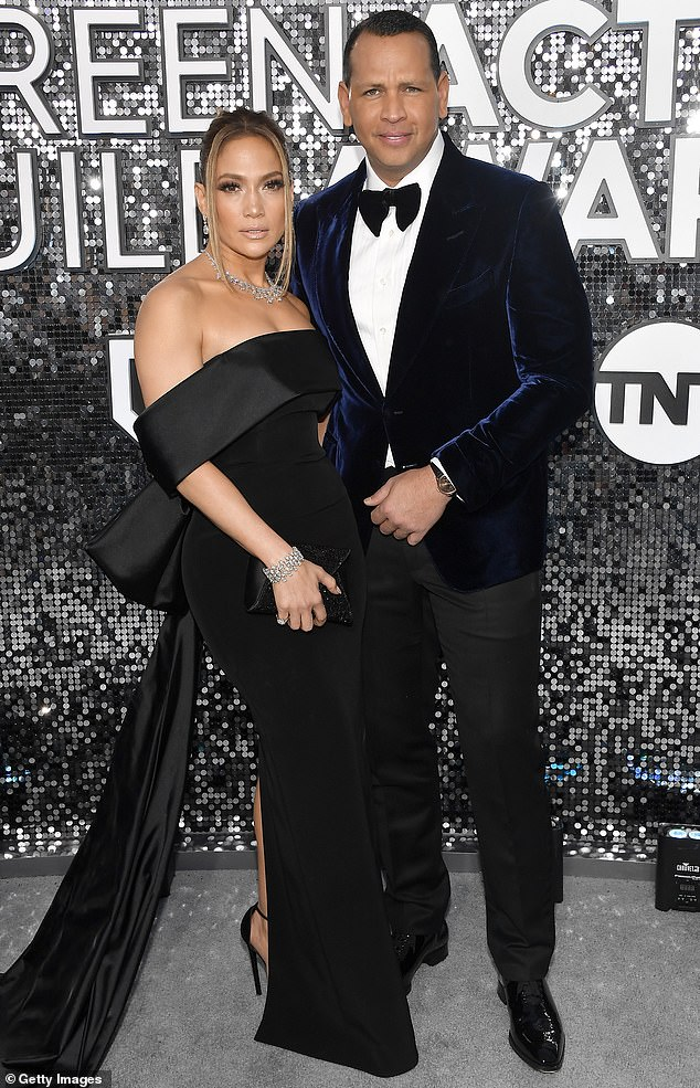 Happy couple: She and Rodriguez, 45, have been together since February of 2017, and they announced their engagement last March (pictured in January, 2020)