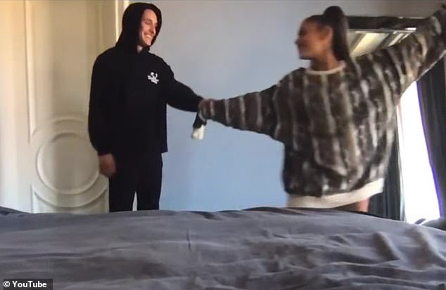 Surprise: Grande confirmed their relationship in May with the release of the music video 'Stuck With U.' In the video, she dances with Gomez in her bedroom