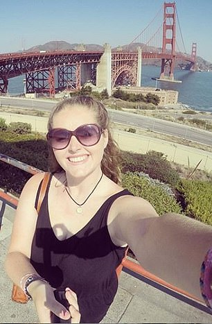 Grace is pictured here in September 2016, in front of San Francisco's Golden Gate Bridge
