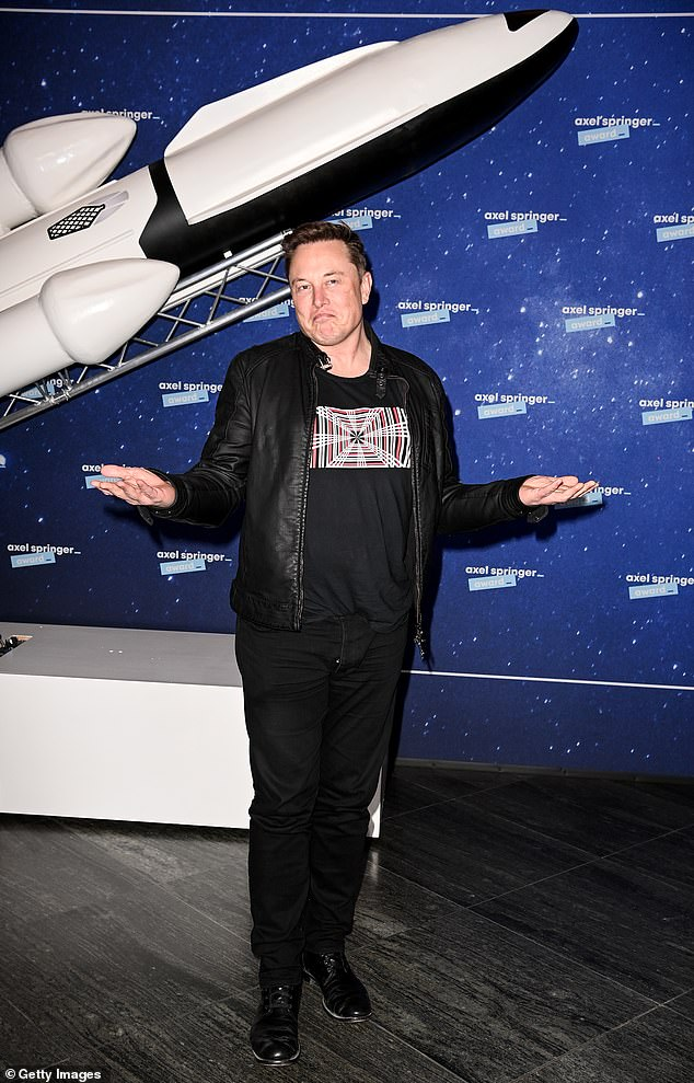 Musk, owner of SpaceX and Tesla, poses at the Axel Springer Awards in Berlin on December 1