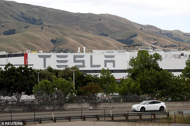 Tesla, based in Fremont, California (pictured) is now worth $600 billion
