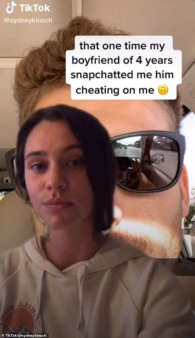 Whoops! Sydney Kinsch, 24, revealed how her relationship ended in a viral TikTok video, showing the selfie her boyfriend of four years sent her on Snapchat