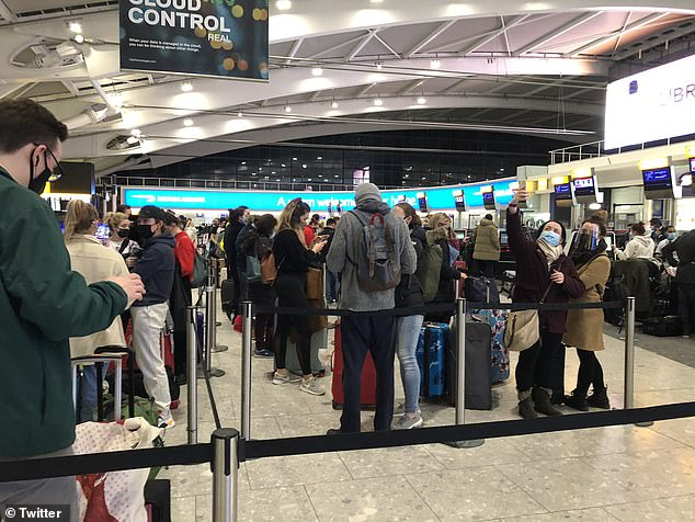 Passengers at London's Heathrow Airport attempted to make the last flight to Dublin last night before the Covid-19 travel ban