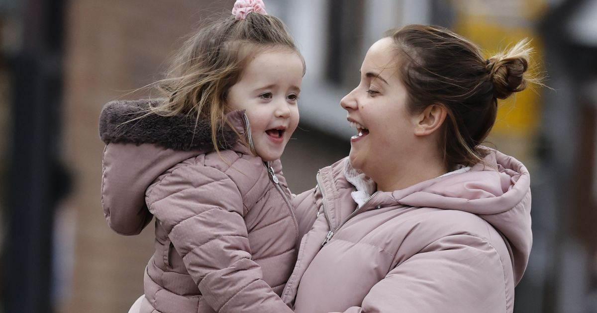 Jacqueline Jossa and lookalike daughter Mia wear matching coats in dash to shops