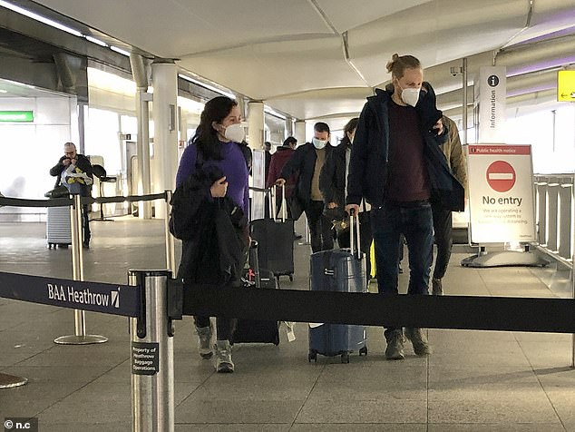 However flights to the US can continue from Heathrow (pictured), so long as passengers provide a negative Covid test before they fly from the UK